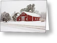 Red Barn Winterscape Greeting Card