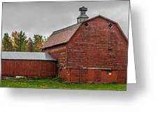 Red Barn With Fall Colors Greeting Card