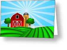Red Barn With Grain Silo On Green Pasture Illustration Greeting Card