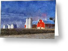 Red Barn With Silos Photo Art 02 Greeting Card