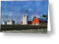 Red Barn With Silos Photo Art 03 Greeting Card