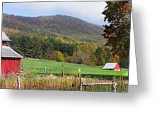 Red Barns And Mountains Greeting Card