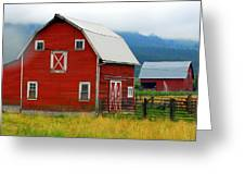 Red Barns Greeting Card by Mamie Gunning
