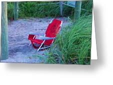 Red Beach Chair Greeting Card