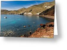 Red Beach Santorini Greeting Card