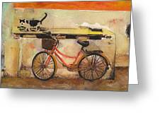Red Bicycle And Cat Greeting Card