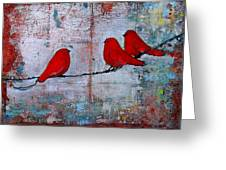 Red Birds Let It Be Greeting Card