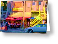 Red Bistro Umbrellas Cafe Cote Soleil Rue St Denis Yellow Staircase Montreal Scenes Carole Spandau Greeting Card