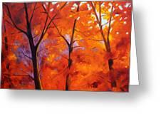 Red Blaze Greeting Card by Nancy Merkle