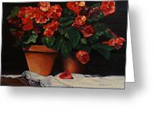 Red Bloom In Terracotta Greeting Card
