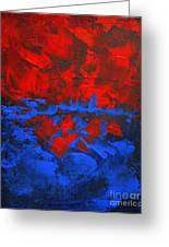 Red Blue Abstract Make It Happen By Chakramoon Greeting Card