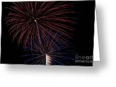 Red Blue Fireworks Greeting Card