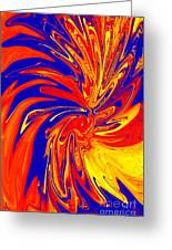 Red Blue Orange Red Yellow Swirl Greeting Card