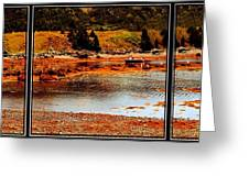 Red Boat At Low Tide Triptych Greeting Card
