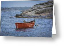 Red Boat In Peggy's Cove Greeting Card