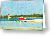 Red Boat Outing Greeting Card