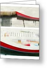 Red Boat At The Dock Greeting Card