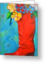 Red Boot With Flowers Greeting Card