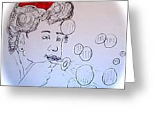 Red Bow And Bubbles Greeting Card