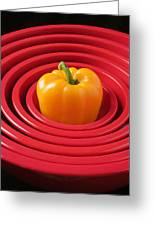 Red Bowls And Pepper Greeting Card
