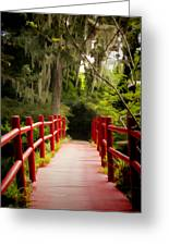 Red Bridge In Southern Plantation Greeting Card