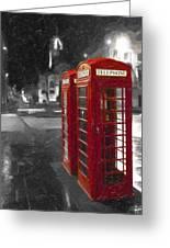Red British Phone Box On The Streets Of Edinburgh Greeting Card