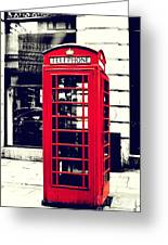 Red British Telephone Booth Greeting Card