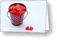 Red Bucket Of Hearts Greeting Card