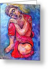 Red Buddha Resting Greeting Card