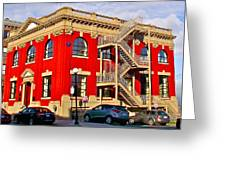 Red Building On Water Street In Saint John's-nl Greeting Card