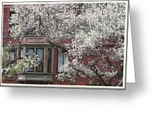 Red Building White Buds Greeting Card