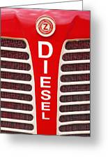 Red Bumper On Vehicle Labeled Diesel Greeting Card