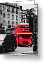 Red Bus Greeting Card