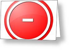 Red  Button Minus Greeting Card