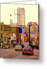 Red Cab On Gerrard Chinatown Morning Toronto City Scape Paintings Canadian Urban Art Carole Spandau Greeting Card