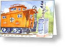 Red Caboose With Signal  Greeting Card