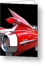 Red Cadillac Sedan De Ville 1959 Tail Fins Greeting Card