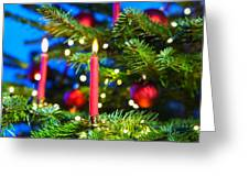 Red Candles In Christmas Tree Greeting Card