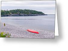Red Canoe And Woman In Green Dress Greeting Card