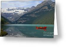 Red Canoes On Lake Louise Greeting Card