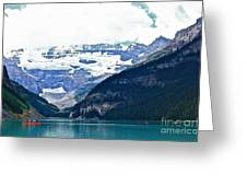 Red Canoes Turquoise Water Greeting Card