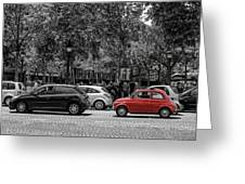 Red Car In Paris Greeting Card