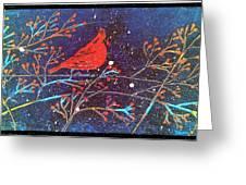 Red Cardinal Bird On Branch Painting Fine Art Print Greeting Card