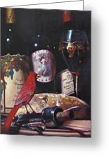 Red Cardinal Red Wine Sin Greeting Card