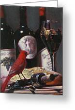 Red Cardinal With Red Wine 2 Greeting Card