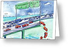 Red Cars Drop Off A Bridge Under A Sign That Says Greeting Card
