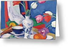 Red Chair And Tulips, C.1919 Greeting Card