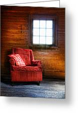 Red Chair In Panelled Room Greeting Card