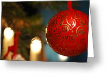 Red Christmas Bauble - Available For Licensing Greeting Card