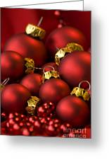 Red Christmas Baubles Greeting Card